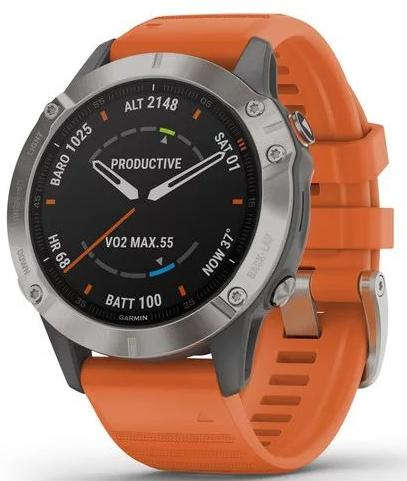 Спортивные часы Garmin Fenix 6 Titanium with Ember Orange Band