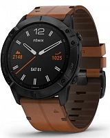 Спортивные часы Garmin Fenix 6X Sapphire Black DLC with Chestnut Leather Band