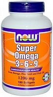 NOW Foods Super Omega 3-6-9 1200 мг 180 софт кап (49505)