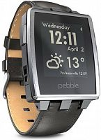 Умные часы Pebble Steel Brushed Stainless with Leather Band