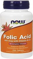 Фолиевая кислота Now Folic Acid 800 мкг с витамином B-12, 250 таб (811681)