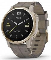 Спортивные часы Garmin Fenix 6S Light Gold-tone with Shale Gray Leather Band